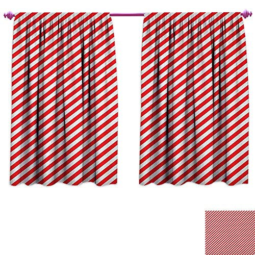Candy Cane Patterned Drape for Glass Door Diagonal Red Lines Festive Christmas Celebration Themed Geometric Arrangement Customized Curtains W63 x L63 Red White (Rooster Glass Candy)