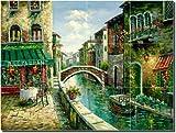 Cafe by the Canal - Cafe Art Ceramic Tile Mural 18'' x 24'' Kitchen Shower Backsplash