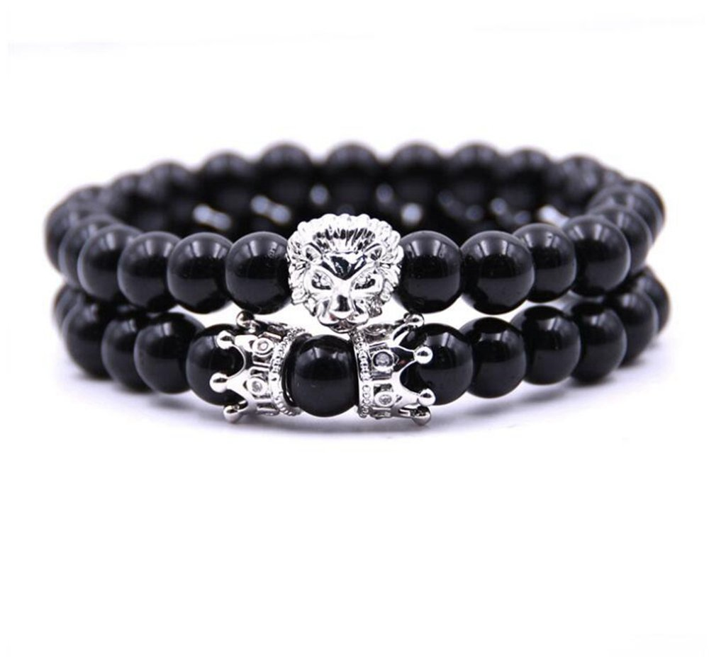 Joan Nunu Handmade 8mm Stone Beads Bracelets Set Silver King Crown Tiger Charm Fashion jewelry for Men Women