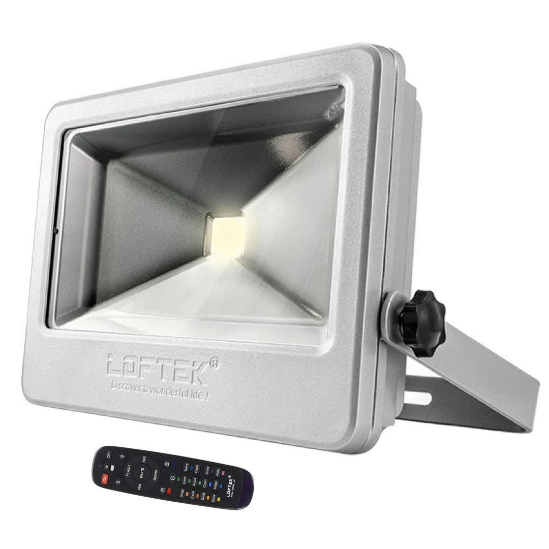 LOFTEK NOVA PLUS 50W Timing RGB Flood Light,6 Levels of Adjustable Brightness Floodlight,16-color RGB Lighting Outdoor Waterproof IP66 Spotlight with Auto Shut-off Silver
