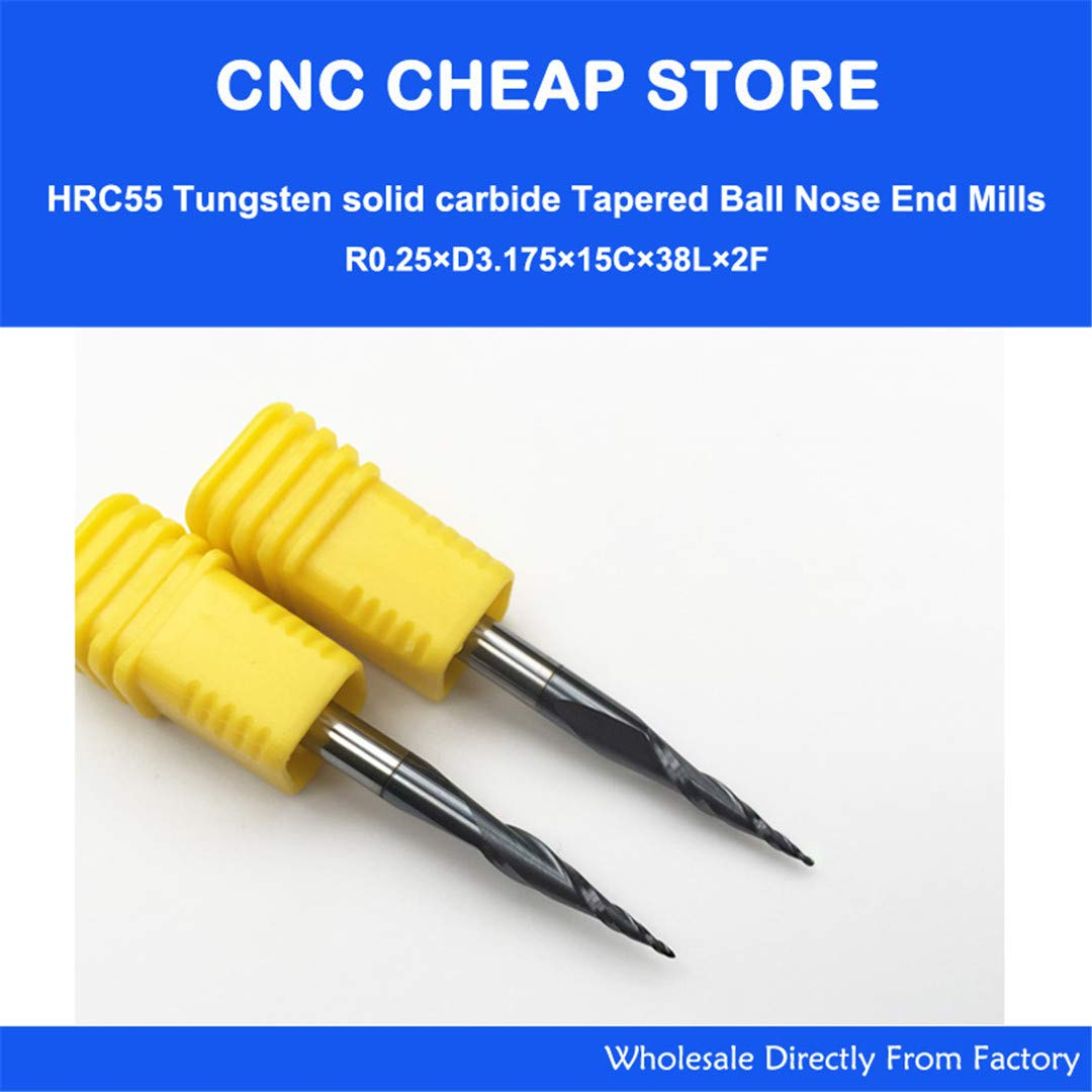 2Pcs R0.25/R0.5/R0.75/R1 HRC55 Taper Ball Nose End Mill Tapered Cone Milling Cutter CNC Woodworking Router Bit 3.175Mm 1/8'' SHK Mix Ordermessage by NSSTK
