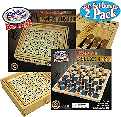 Matty's Toy Stop Deluxe Large Wood Labyrinth Game (60 Hole) with 4 Metal Balls & 4-in-1 Chess, Checkers, Tic Tac Toe & Backgammon Wooden Games Gift Set Bundle - 2 Pack