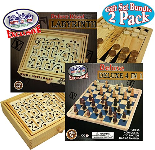 Matty's Toy Stop Deluxe Large Wood Labyrinth Game (60 Hole) with 4 Metal Balls & 4-in-1 Chess, Checkers, Tic Tac Toe & Backgammon Wooden Games Gift Set Bundle - 2 Pack (Ball Tic Tac Toe)