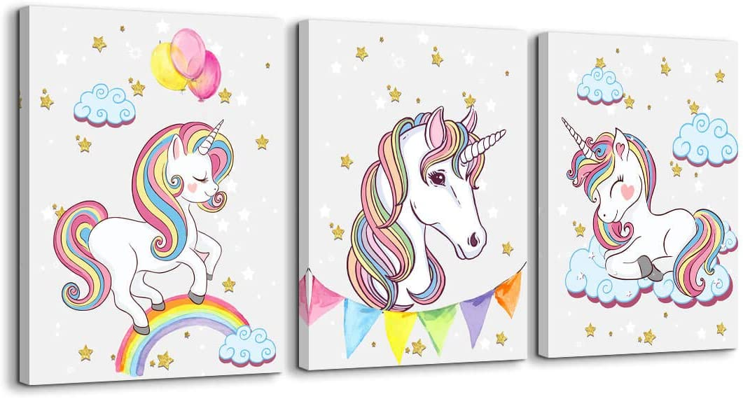 Unicorn Wall Decor for Girls Bedroom Canvas Wall Art of White Unicorn Pink Balloon Rainbow Cute Picture Artwork Modern Framed Canvas Prints Painting for Kids Nursery Wall Decorations 3 Pieces a Set