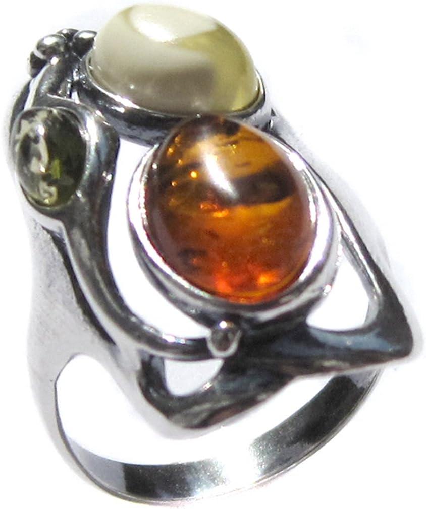 Noda anillo de plata con ámbares multicolores de Diseño