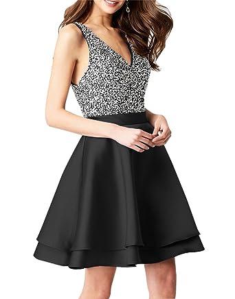 Satin Homecoming Dresses Short Beaded V-Neck Backless A-Line Evening Prom Dress Black