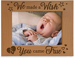 KATE POSH - We Made a Wish & You Came True Engraved Natural Wood Picture Frame, New Baby Gifts, New Mom, New Dad, Adoption Gifts (5x7 Horizontal)