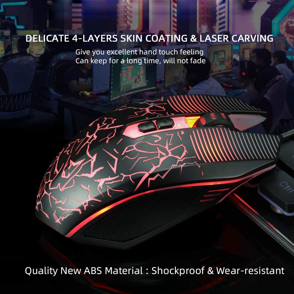 USB Laptop Gaming Mouse Light Up Wired Mice with Cool Led Rainbow Adjustable DPI Up to 3200 RGB Comfortable Ergonomic Gamer PC Mouse with 6 Buttons for Windows 7//8//10//XP/ M 738