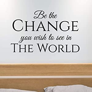 Inspirational Wall Art | Be The Change You Wish to See in The World | Vinyl Wall Decal Quote | Mahatma Gandhi Quote Sticker | 22 x 36 inch LARGE Wall Quote | Quotes Wall Decor (Matte Black) Home Decor