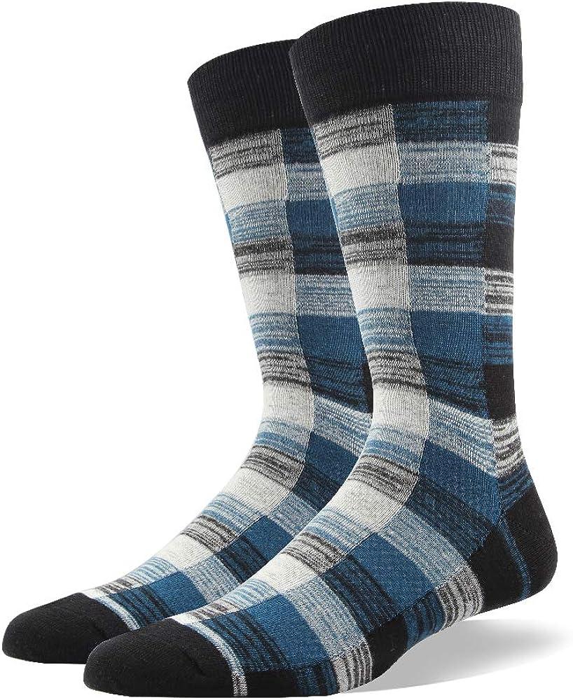 Ezsox Chaussettes pour hommes de 6 paires /à carreaux et /à rayures color/ées qualit/é europ/éenne