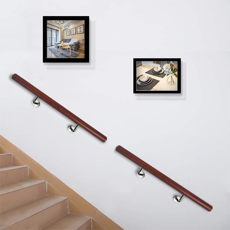 FROADP Pasamanos de acero inoxidable AISI304 Contra la barandilla de la pared para escaleras internas y externas vetas transparentes, 200 cm