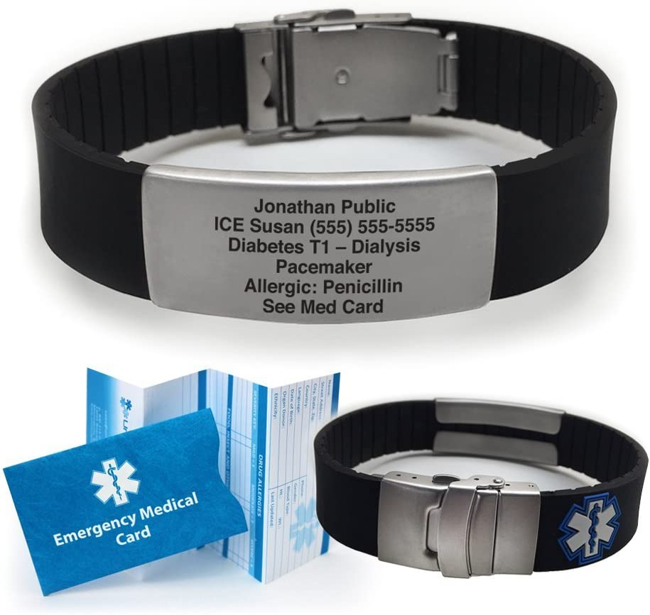 Silicone Sport Medical Alert ID Bracelet – Black Incl. 5 Lines of Custom Engraving . Choose Your Color –
