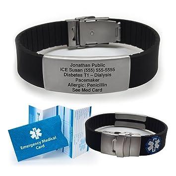 Silicone Sport Medical Alert ID Bracelet - Black (Incl  5 Lines of Custom  Engraving)  Choose Your Color! -