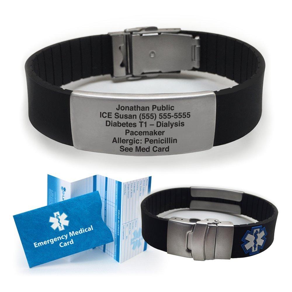 Silicone Sport Medical Alert ID Bracelet - Black (Incl. 5 lines of custom engraving). Choose Your Color! -