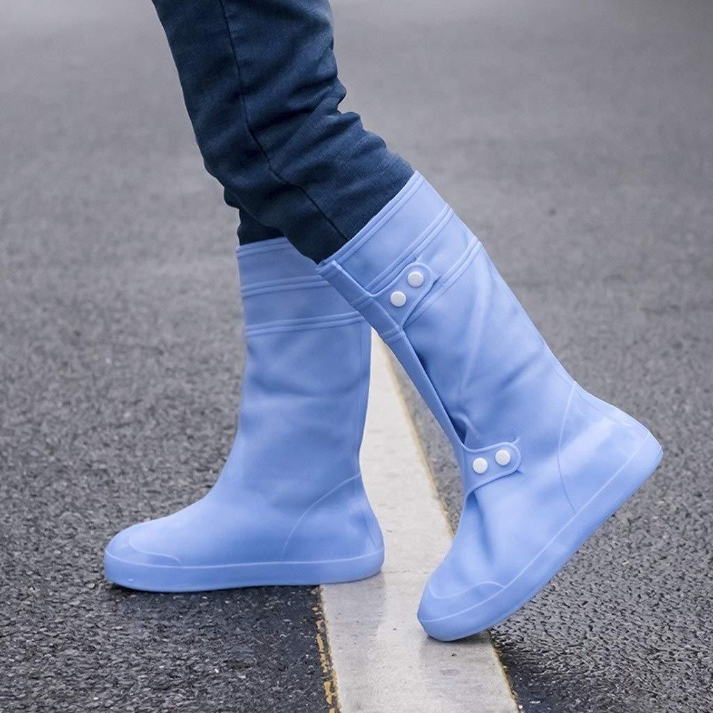 YANGBM Silicone Rain Boots Reusable Waterproof Shoe Cover Outdoor Waterproof Silicone Shoe Cover Rain Boots Cover Silicone rain Boots (Color : Blue, Size : XXXXL)