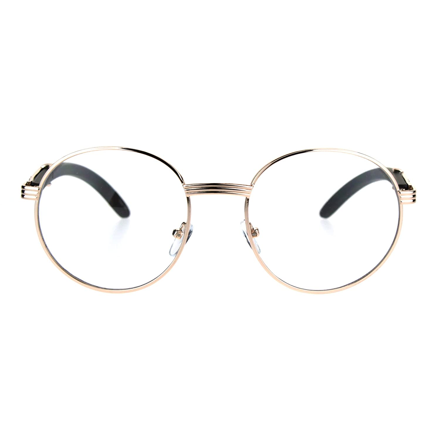 162f728f2974 Amazon.com  SA106 Art Nouveau Vintage Style Oval Metal Frame Eye Glasses  Exposed Lens Yellow Gold  Clothing