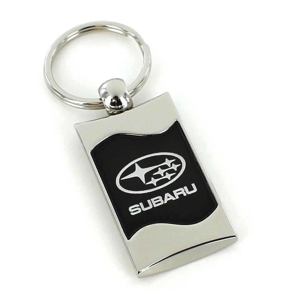 Subaru negro hilos de metal pulido llavero: Amazon.es: Coche ...
