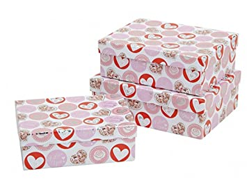 Geschenkkarton Weihnachten.Feste Feiern Dekokarton Stapelbox 3 Teile Herzen Love You