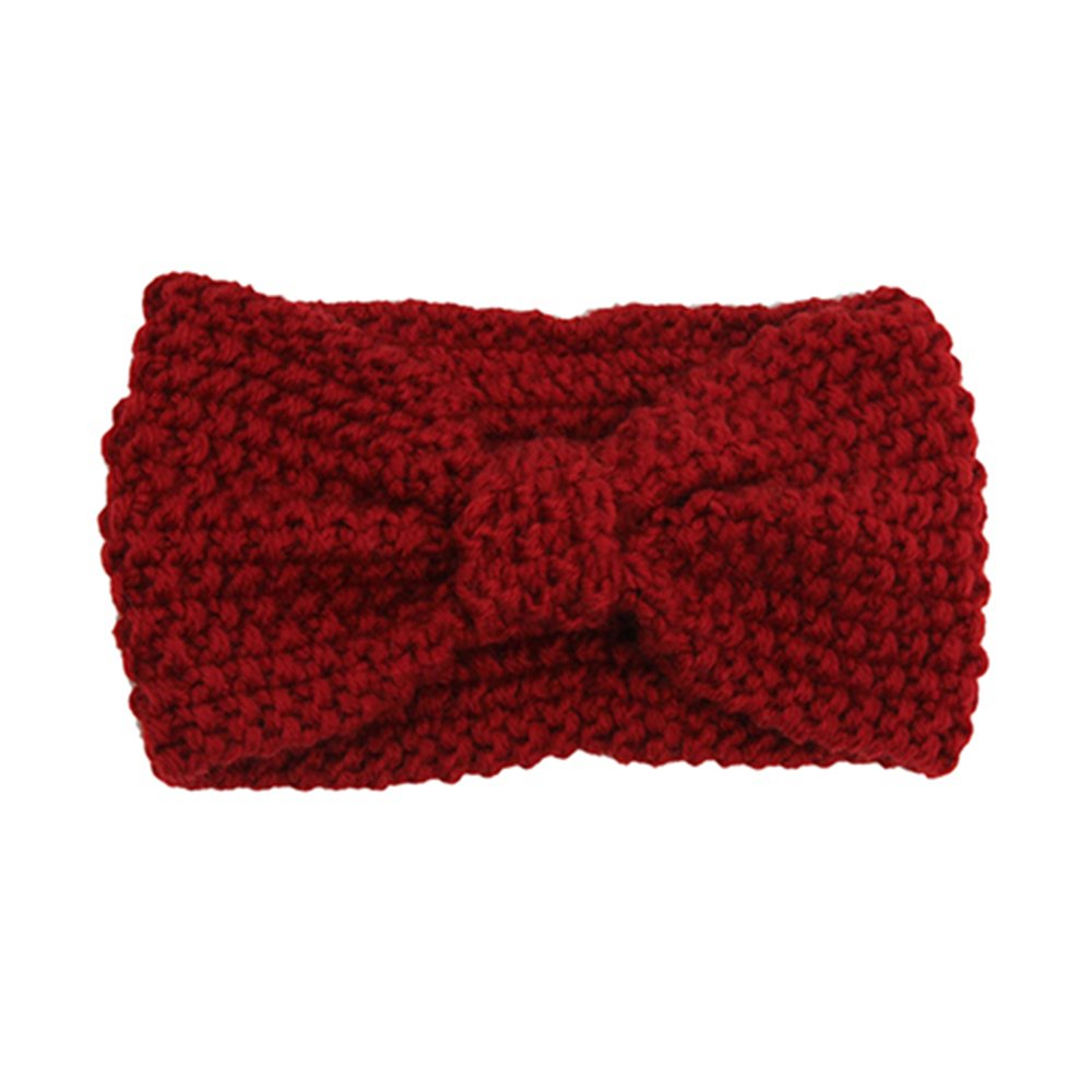 starlit Women Fashion Cute Niblet Crochet Bow Knitted Solid Color Hair Band Winter Headband