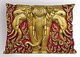 Ambesonne Elephant Pillow Sham, Yellow Toned Elephant Motif on Door Thai Temple Spirituality Statue Classic, Decorative Standard King Size Printed Pillowcase, 36 X 20 Inches, Fuchsia Mustard