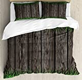 Ambesonne Green and Brown Duvet Cover Set King Size, Wooden Planks Background with Fresh Grass Frame Rustic Nature Illustration, Decorative 3 Piece Bedding Set with 2 Pillow Shams, Umber Green