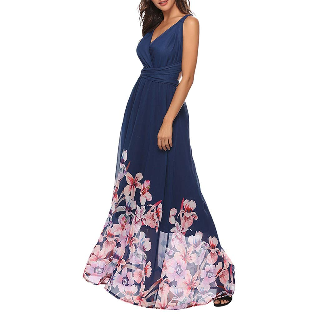 youul Women's Bohemian Sleeveless V Neck Boho Print Bandage Backless Long Swing Beach Long Dress Skirt (M, Blue)