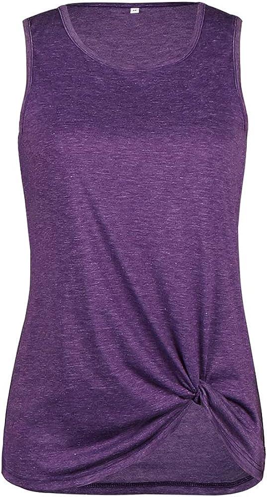 Aranmei Magliette Donna Senza Maniche Torsione del Nodo T-Shirt Estive Camicetta