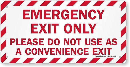 Amazon.com: Señal Salida de Emergencia sólo, por favor no ...