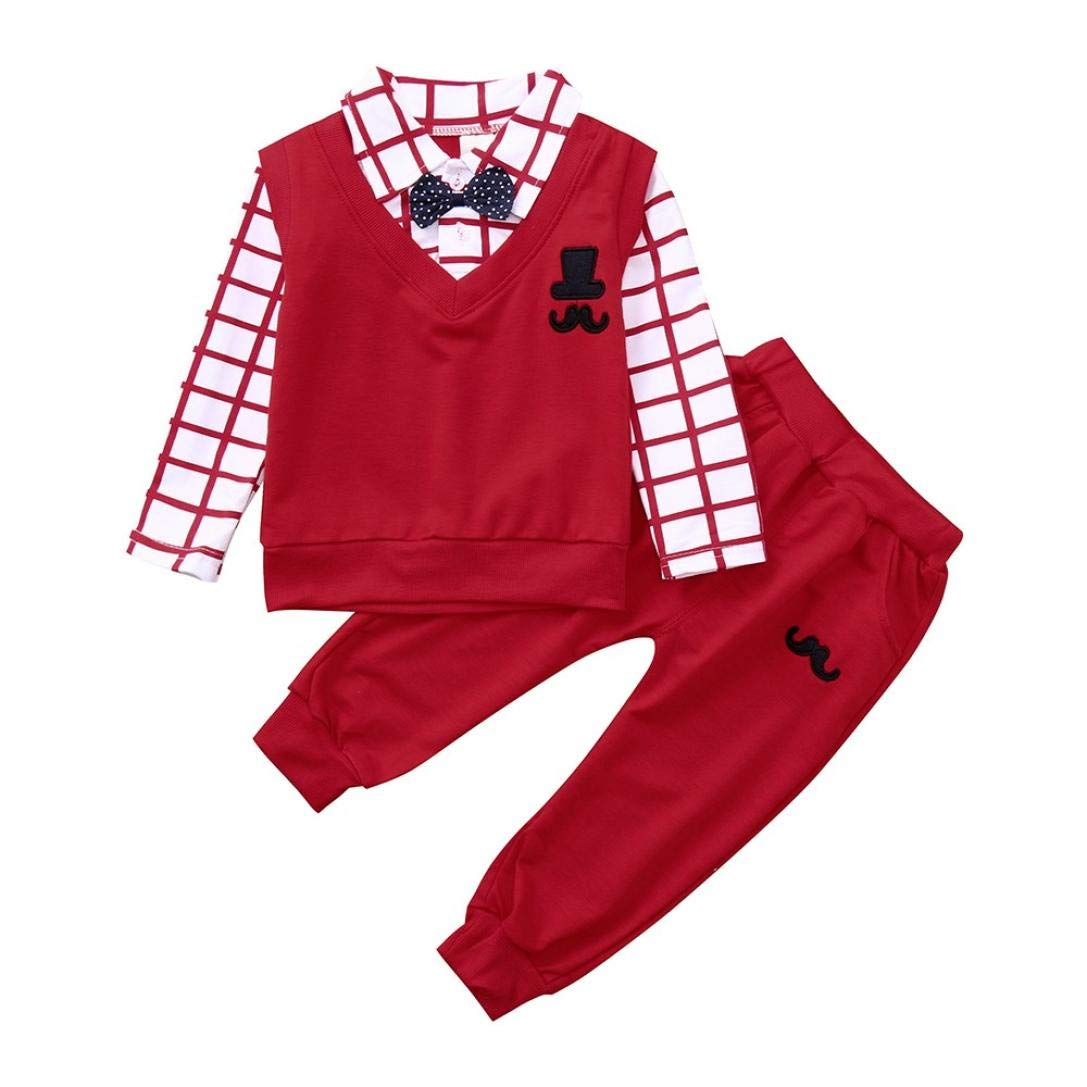 FIged baby gentleman Toddler Baby Boys Long Sleeve Bowknot Outfits Clothes Sets (Red, 24M-3T)