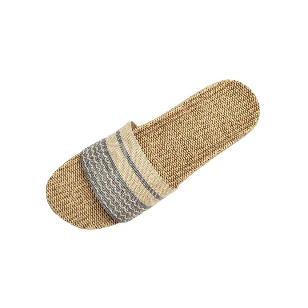 HRFEER Home Slippers Women Linen Indoor Shoes Men Beach Slipper Silent Flip Flops for Women Sandals