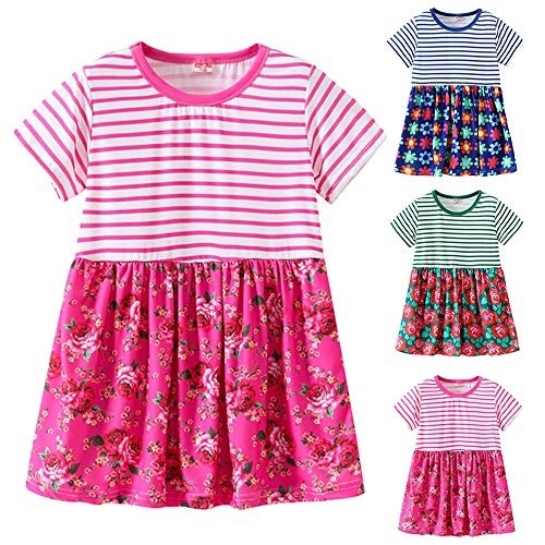 2019 Hot! Toddler Girls Dress,Kids Baby Short Sleeve Striped Floral Printed Princess Dresses Clothes Outfits Blue by Leewos-Baby Clothes (Image #3)