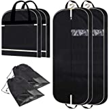 """2 Pack 54"""" Gusseted Garment Bags with Extra Large Pockets for Travel, Breathable Foldable Suit Covers Mens Womens Hanging Bag"""