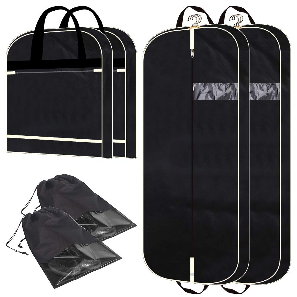 2 Pack 54'' Gusseted Garment Bags with Extra Large Pockets for Travel, Breathable Foldable Suit Covers Mens Womens Hanging Bag for Clothes Shirts Dresses Coats, Black