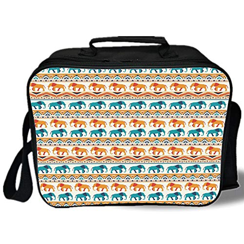 Insulated Lunch Bag,Elephant,Horizontal Borders with Exotic Animals Ethnic Geometric Orient Design Decorative,Turquoise Orange Cream,for Work/School/Picnic, Grey