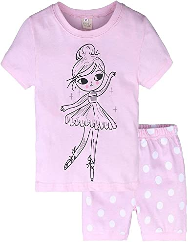 AIKSSOO Conjuntos de Pijamas de Verano para niñas de niños, Tops de Camiseta de algodón para niñas bebés + Pantalones de Pijama Conjunto de Ropa de hogar para niñas: Amazon.es: Ropa y