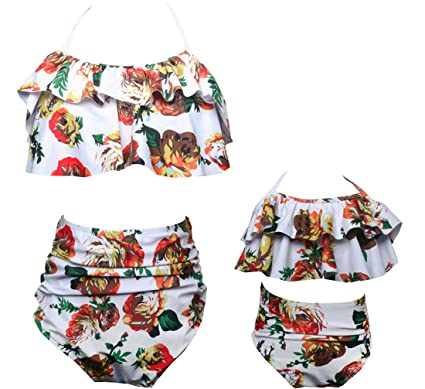 6ebcf5598b Amazon.com: Mother Daughter Family Matching Swimsuit Floral High Waist Swimwear  Bathing Suit for Women Girls: Clothing