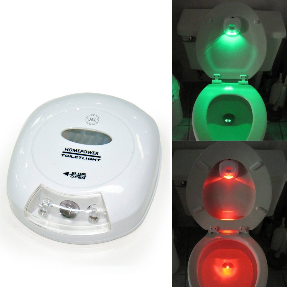 LED Sensor Motion Activated Toilet Nightlight Battery-operated with Red and Green Light Showing Toilet Seat Up or Down J and L Real