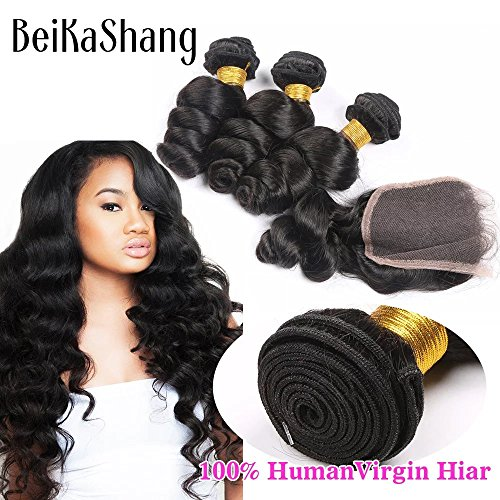 Price comparison product image BeiKaShang Brazilian Virgin Remy Loose Wave Hair 3 Bundles 300g With 4*4 Lace Closure Human Hair Extensions Bundles with Middle Part Closure 30x30x30+20