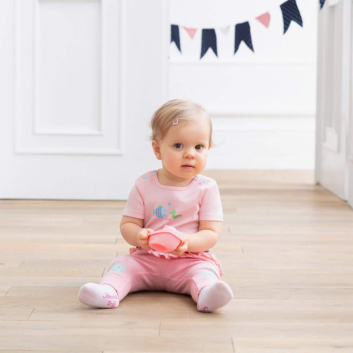 rosa Bornino Seaside T-Shirt Baby-Shirt aus Reiner Baumwolle Kurzarm-Oberteil mit aufgesetzten R/üschen /& Punkte-Print