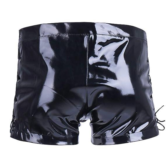 c47fbb5f479e Amazon.com  MSemis Men s Patent Leather Wetlook Zipper Open Front Pouch  Boxer Shorts Underwear Trunks  Clothing