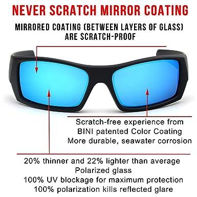 5fcb5836b3 Amazon.com  tItaly made corning glass lenses blue mirrored sunglasses for  men (Black Rubber Blue Mirrored Polarized