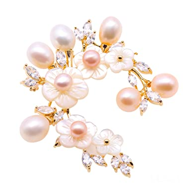 d05b2d0edf0 Image Unavailable. Image not available for. Color: JYX Pearl Shell Flower  Brooch White and Purple Freshwater Pearl Brooches Pins Bouquet Jewelry for  Women
