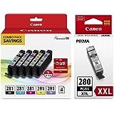 Genuine Canon CLI-281 5-Color Ink Tank Combo Pack with 5 x 5 Photo Paper (2091C006) + Canon PGI-280 XXL Pigment Black Ink Tank (1967C001)