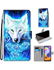 Miagon Full Body Case for Samsung Galaxy A41,Colorful Pattern Design PU Leather Flip Wallet Case Cover with Magnetic Closure Stand Card Slot,Rose Wolf
