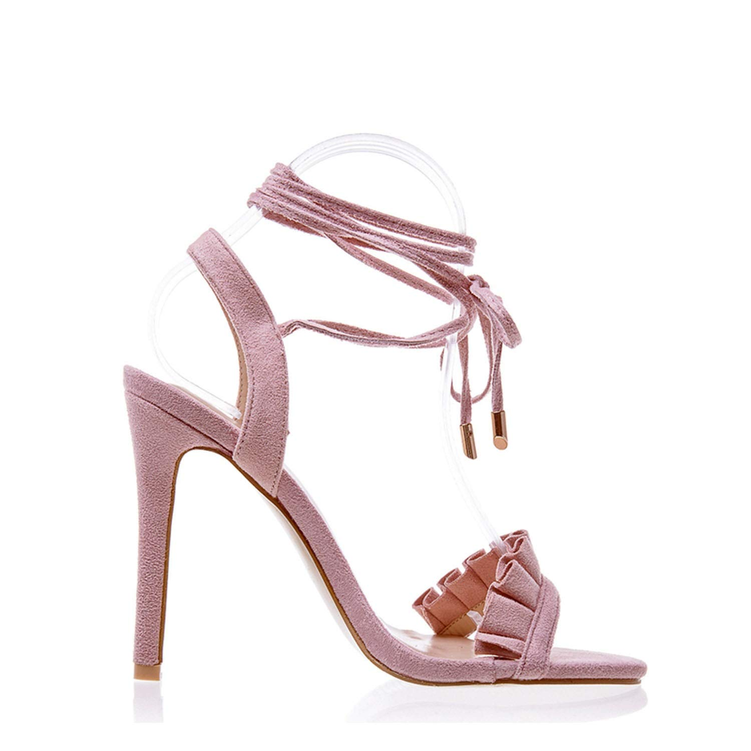 High Heel Sandals Women Cross Strappy Sandals Women Summer Shoes Woman High Sandals Heel,Pink,8.5