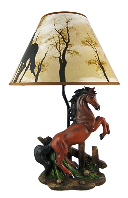 Resin Table Lamps Brown Stallion Horse Lamp W Nature Print Shade 12 X 185