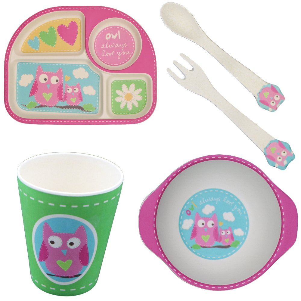 Bamboo Plates More Eco-Friendly, Cartoon Dinner Plate Sets Easily Wash Clean, 5 Pieces Kids Meal Sets For 1-6 Years Old Children's Tableware Gift-Set(Owl) Babylifetime