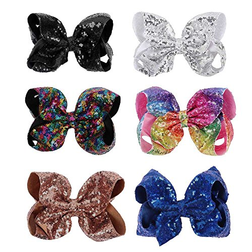 Subesty Baby Girls Sequin Hair Bow 8 Inch Large Boutique Hair Clip Set of 6 (Texas Glitter)