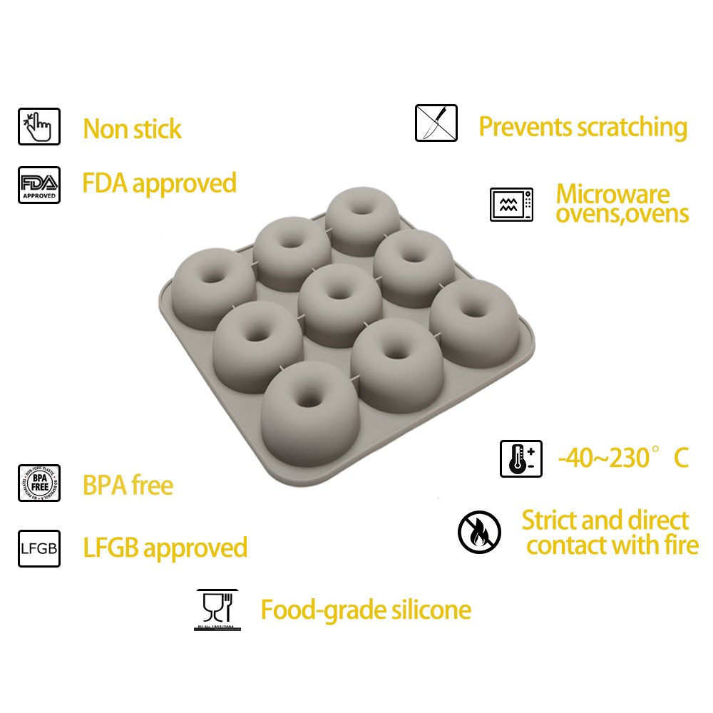 Donut Pan, 9 Cavity Silicone Donut Baking Pan Non-stick Donut Mold, Durable Baking Kitchen Accessories Easy to Clean, 3-Pack Safe Donut Baking Pan and Spatula by Ccfoud (Image #3)