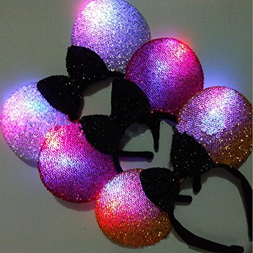 8 PC Light Up LED Flasing Ears and Polka Dot Bows Headbands - Various Styles (Mouse Ear) ()